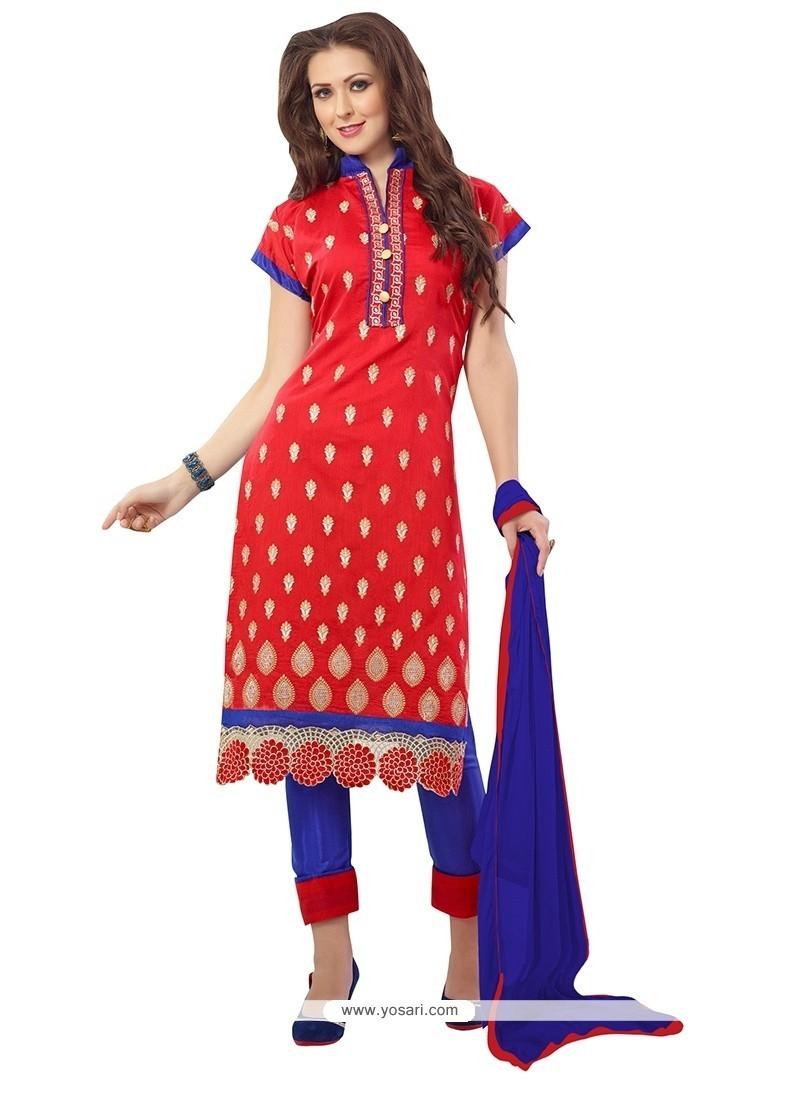 Thrilling Embroidered Work Chanderi Churidar Suit