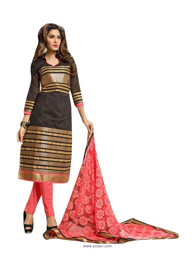 Invigorating Chanderi Black Embroidered Work Churidar Suit