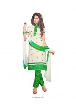 Festal Cream And Green Churidar Suit