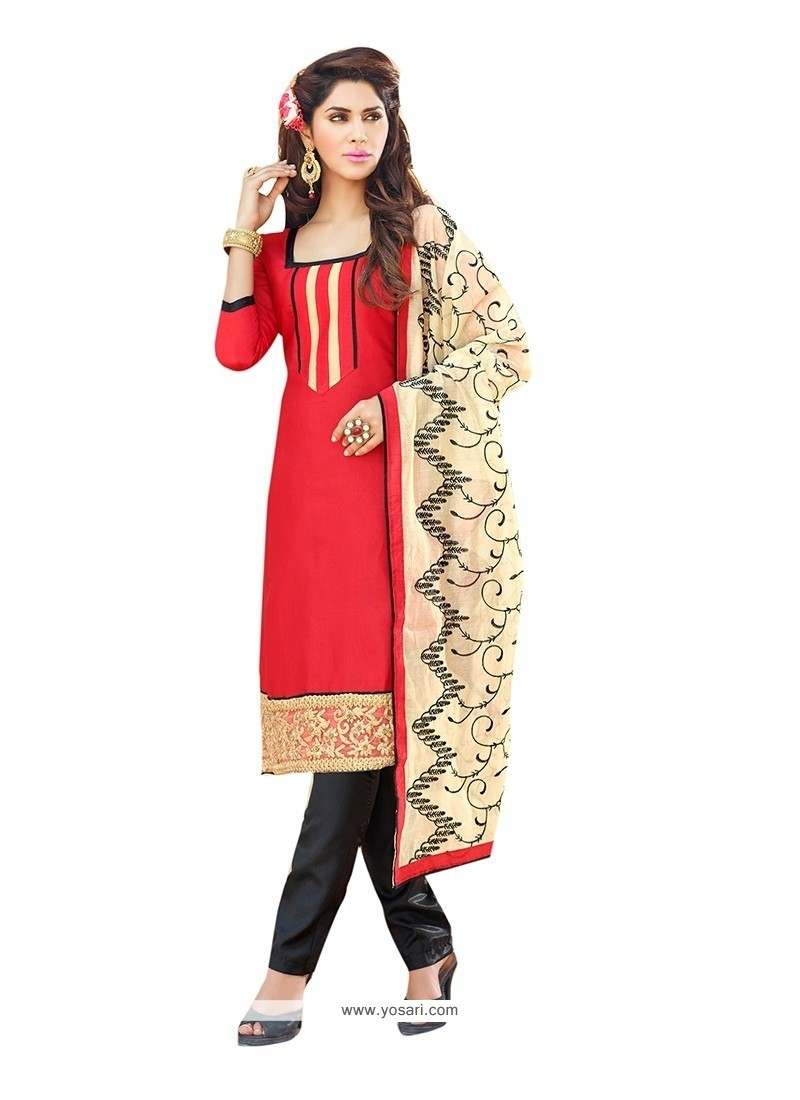 Hypnotic Red Embroidered Work Churidar Suit