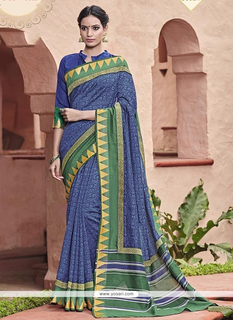 Beautiful Blue Print Work Printed Saree