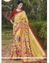 Fabulous Handloom Silk Print Work Printed Saree