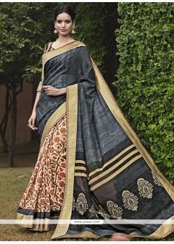 Catchy Handloom Silk Print Work Printed Saree