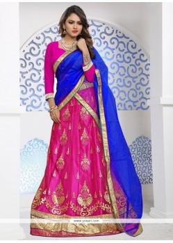 Embroidered Net Lehenga Choli In Hot Pink