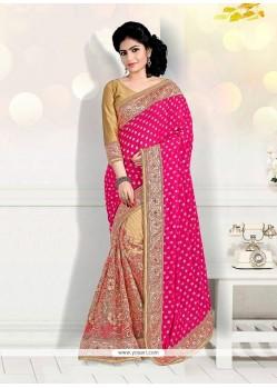 Stylish Net Beige And Hot Pink Patch Border Work Designer Half N Half Saree