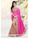 Beautiful Beige And Pink Patch Border Work Designer Half N Half Saree