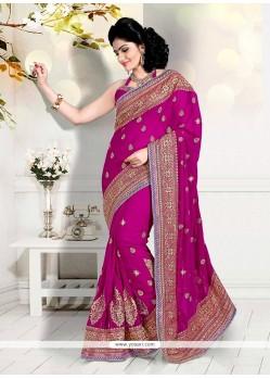 Heavenly Magenta Zari Work Faux Georgette Classic Designer Saree