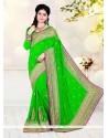 Latest Faux Georgette Green Classic Designer Saree