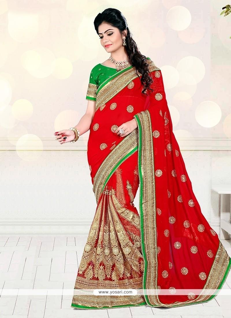 Majestic Zari Work Designer Half N Half Saree