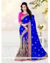Cherubic Blue Designer Half N Half Saree