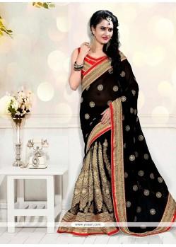 Floral Zari Work Net Designer Half N Half Saree