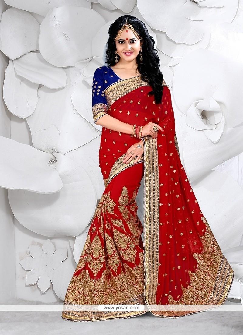 Opulent Faux Georgette Red Classic Designer Saree