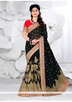 Genius Faux Georgette Black Zari Work Classic Designer Saree