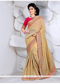 Outstanding Gold Patch Border Work Classic Designer Saree