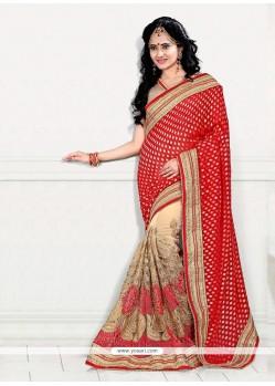 Nice Beige And Red Net Designer Half N Half Saree