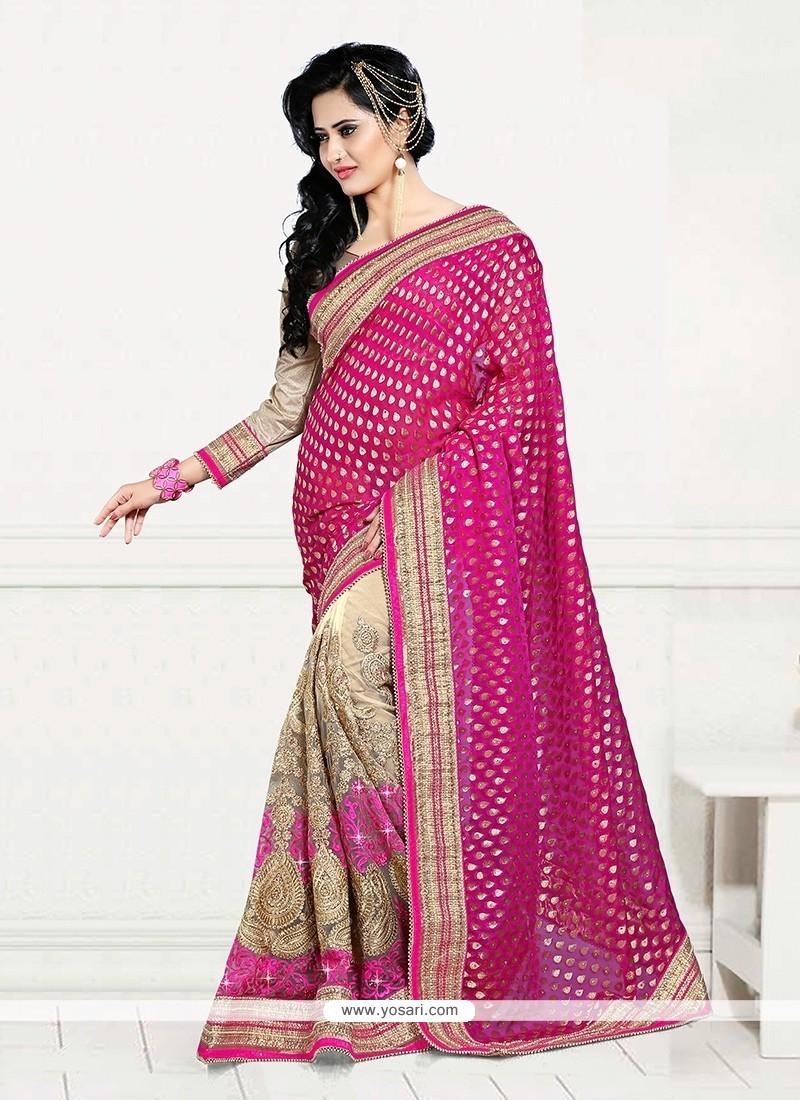 Excellent Beige And Magenta Resham Work Designer Half N Half Saree