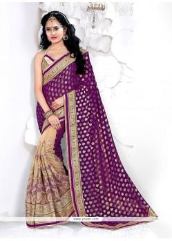 Alluring Net Beige And Purple Designer Half N Half Saree