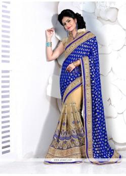 Beige And Blue Patch Border Work Viscose Designer Half N Half Saree