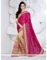 Gleaming Net Beige And Magenta Designer Half N Half Saree