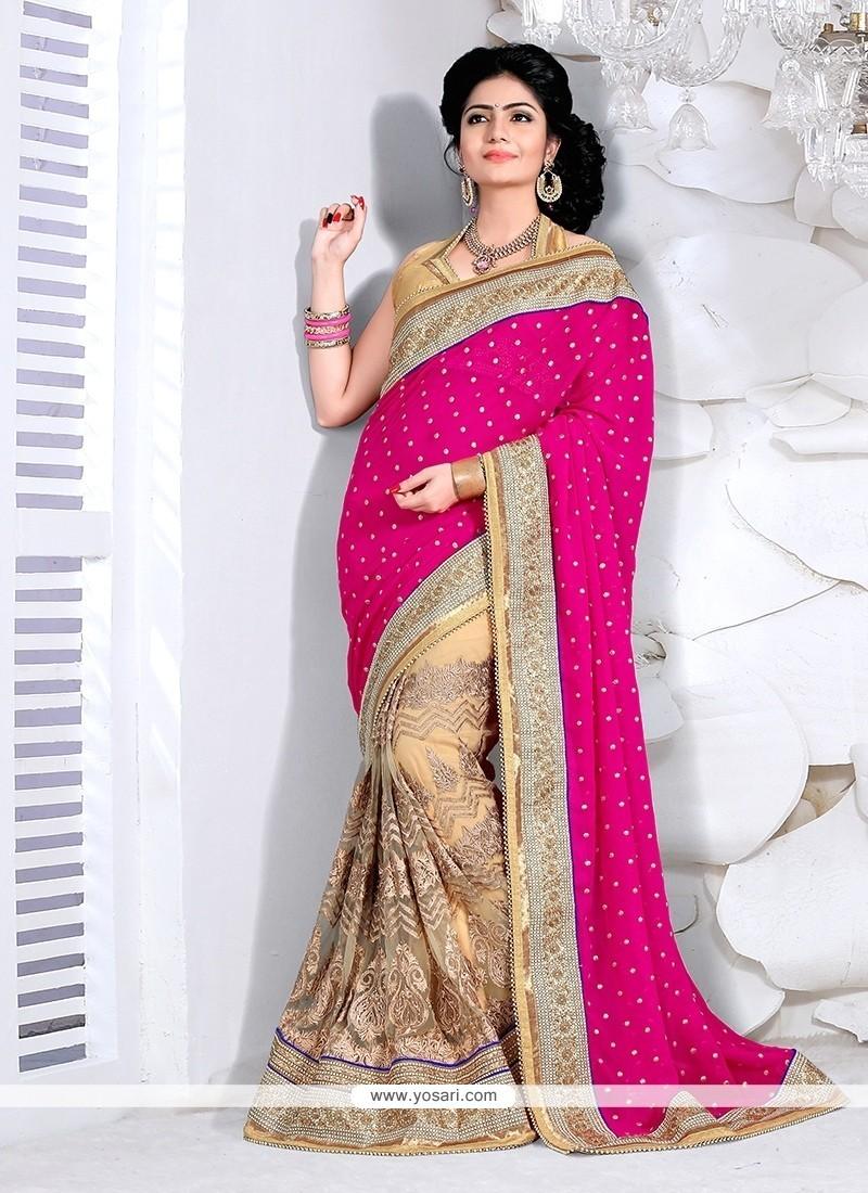 Imperial Patch Border Work Beige And Hot Pink Designer Half N Half Saree