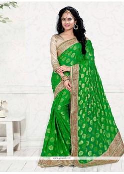 Blissful Green Patch Border Work Classic Designer Saree