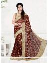 Desirable Viscose Brown Classic Designer Saree
