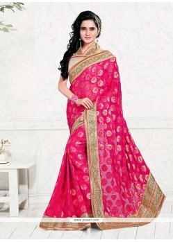 Magnetize Viscose Hot Pink Zari Work Classic Designer Saree