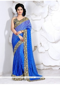 Gripping Faux Crepe Patch Border Work Classic Designer Saree