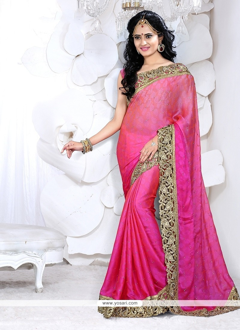 Delightsome Hot Pink Patch Border Work Classic Designer Saree