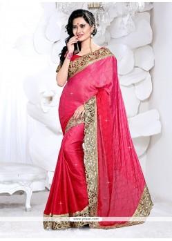 Pristine Faux Crepe Hot Pink Classic Designer Saree