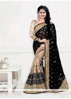 Best Net Beige And Black Designer Half N Half Saree