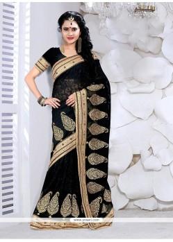 Exotic Faux Georgette Black Classic Designer Saree