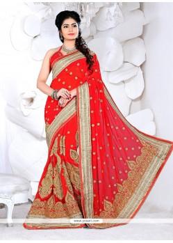 Magnetic Red Classic Designer Saree