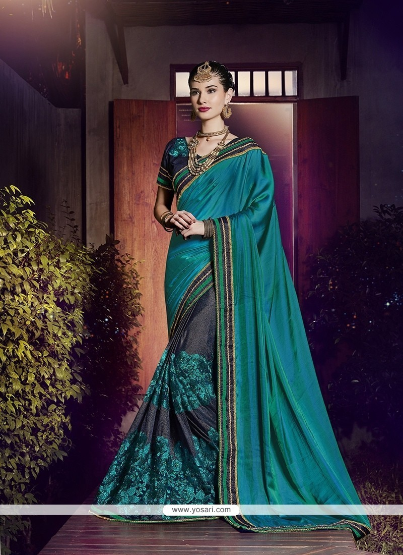 Pleasance Grey And Teal Fancy Fabric Designer Half N Half Saree