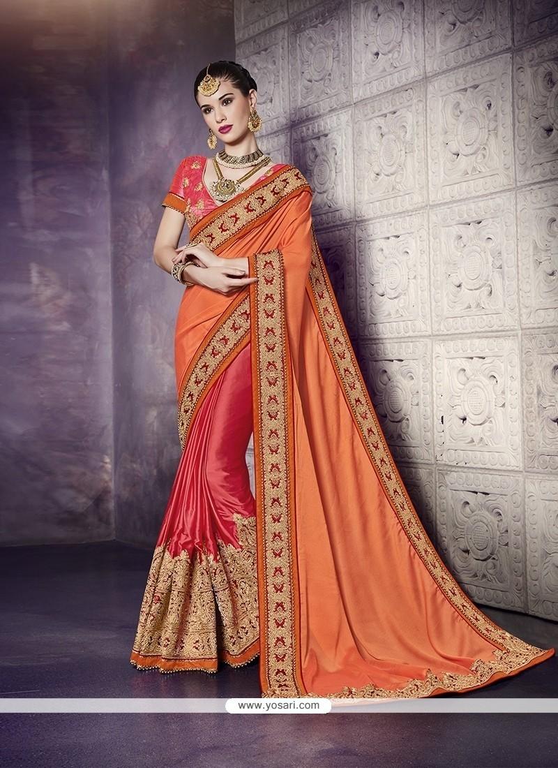 Sonorous Satin Hot Pink And Orange Designer Half N Half Saree