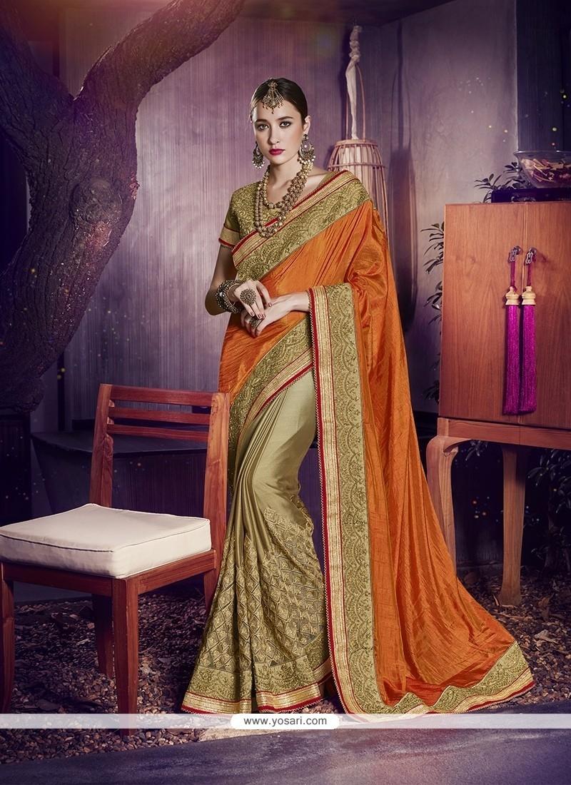 Trendy Embroidered Work Designer Half N Half Saree