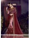 Imposing Maroon And Pink Patch Border Work Fancy Fabric Designer Half N Half Saree