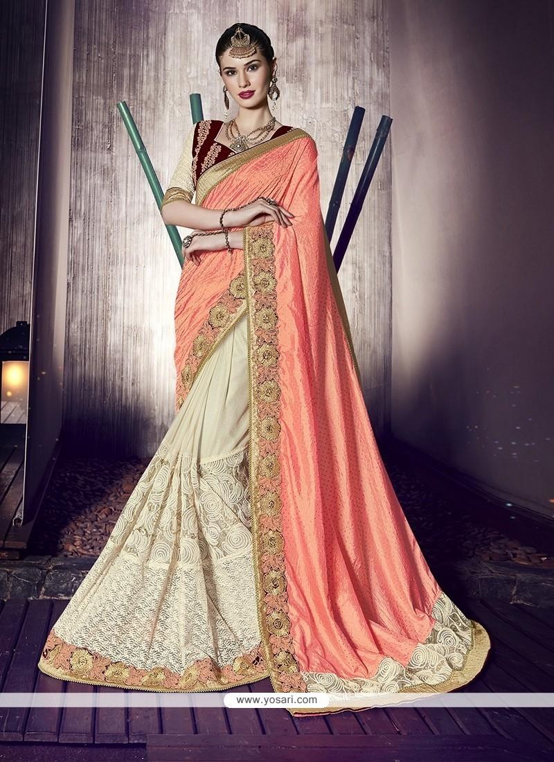 Stupendous Fancy Fabric Embroidered Work Designer Half N Half Saree