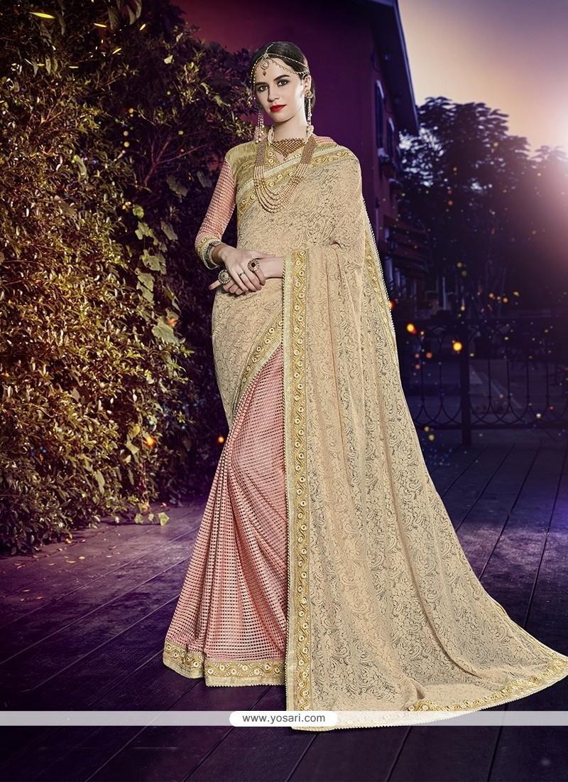 Phenomenal Art Silk Beige And Pink Patch Border Work Designer Half N Half Saree