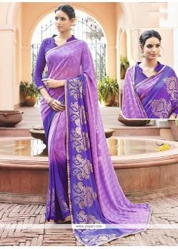 Purple Print Work Faux Georgette Printed Saree