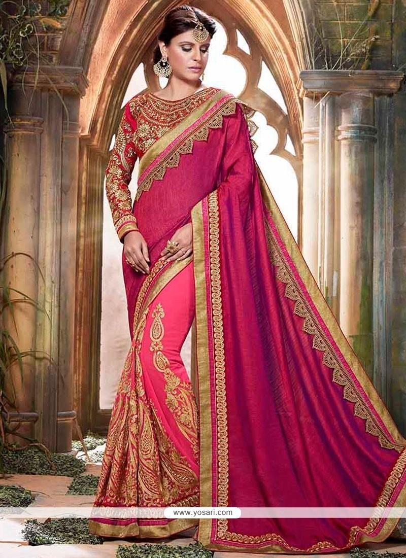 Latest Magenta And Pink Resham Work Art Silk Designer Half N Half Saree