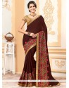 Exceptional Brown Faux Chiffon Classic Saree