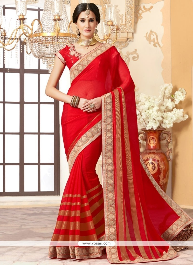Specialised Red Classic Designer Saree