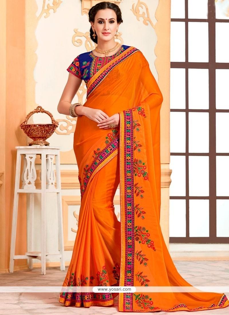 Beautiful Orange Embroidered Work Faux Chiffon Classic Saree