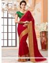 Incredible Red Faux Chiffon Designer Saree