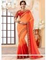 Heavenly Art Silk Orange And Red Designer Traditional Saree