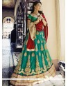 Aesthetic Sea Green Embroidered Work Net Lehenga Choli