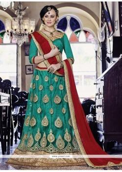 Majesty Sea Green Embroidered Work Net Lehenga Choli