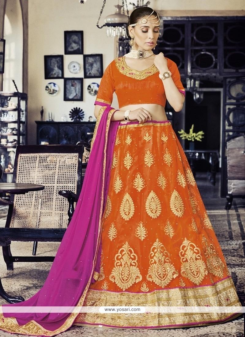 Majesty Net Orange Lehenga Choli