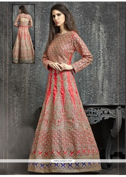 Perfervid Red Kasab Work Dupion Silk Designer Floor Length Suit